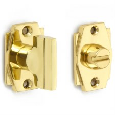 Croft 7007 Art Deco Thumb Turn & Release Polished Brass Unlacquered