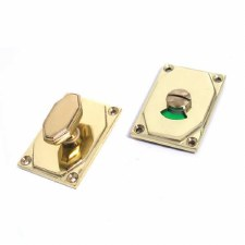 Aston Bathroom Thumb Turn & Release Art Deco with Indicator Polished Brass Unlacquered