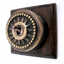 Star Round Dolly Light Switch on Wooden Base Antique Satin Brass 1Gang
