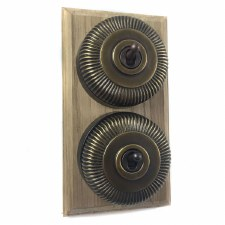 Reeded Round Dolly Light Switch on Wooden Base Antique Satin Brass 2 Gang