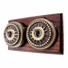 Star Round Dolly Light Switch on Wooden Base Antique Satin Brass 2 Gang