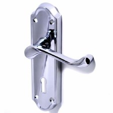 Ashtead Door Handles Lock Plate Polished Chrome