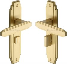 Heritage Astoria Bathroom Door Handles AST5930 Satin Brass Lacquered
