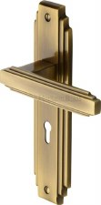 Heritage Astoria Door Lock Handles AST5900 Antique Brass Lacquered