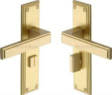 Heritage Atlantis Bathroom Door Handles ATL5730 Satin Brass Lacquered