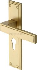 Heritage Atlantis Euro Lock Door Handles ATL5748 Satin Brass Lacquered