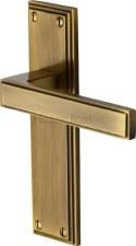 Heritage Atlantis Latch Door Handles ATL5710 Antique Brass Lacquered