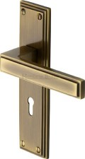Heritage Atlantis Door Lock Handles ATL5700 Antique Brass Lacquered