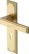 Heritage Atlantis Door Lock Handles ATL5700 Satin Brass Lacquered