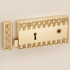 "Aztec Rim Lock 6"" Polished Brass Unlacquered Right Hand"