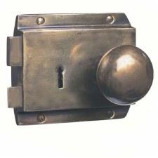 Flanged Rim Lock Hand Aged Brass RH