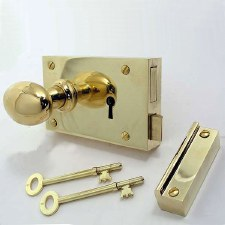 "5"" Plain Rim Lock, Left Hand Polished Brass Unlacquered"