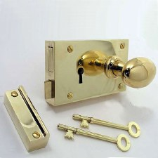 "5"" Plain Rim Lock, Right Hand Polished Brass Unlacquered"