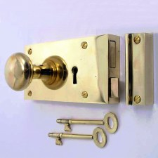 "6"" Plain Rim Lock, Left Hand, Polished Brass Unlacquered"