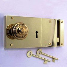 "Plain Rim Lock 7"" Polished Brass Unlacquered"