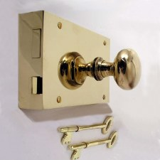 "7"" Plain Rim Lock, Right Hand, Polished Brass Unlacquered"