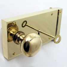 "8"" Plain Rim Lock, Left Hand, Polished Brass Unlacquered"