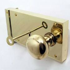 "8"" Plain Rim Lock, Right Hand, Polished Brass Unlacquered"