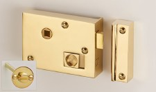 "Bathroom Rim Latch with Emergency Release 4"" Polished Brass LH"
