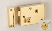 "Bathroom Rim Latch with Emergency Release 4"" Polished Brass RH"