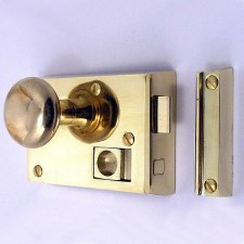 "Bathroom Rim Latch 4"" Polished Brass Unlacquered LH"