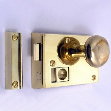 "Bathroom Rim Latch 4"" Polished Brass Unlacquered RH"