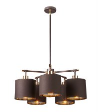 Elstead Balance 5 Light Pendant Brown & Brass
