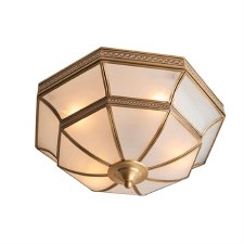 Interiors 1900 Balfour Flush Ceiling Light Antique Brass