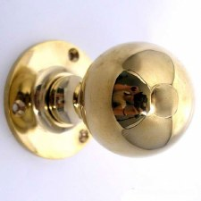 Ball Door Knobs 48mm Polished Brass Unlacquered