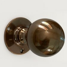 Aston Ball Door Knobs Polished Solid Bronze Antiqued 46mm