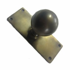 Aston Ball Door Knobs on Plate Antique Brass Unlacquered