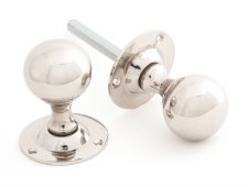 From The Anvil Ball Shaped Mortice Door Knobs Polished Nickel