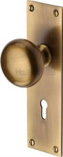Heritage Balmoral Door Knobs Lever Lock BAL8500 Antique Brass