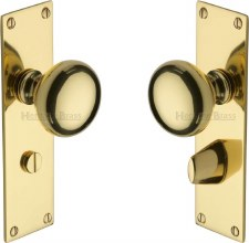 Heritage Balmoral Door Knobs Bathroom Set BAL8530 Polished Brass
