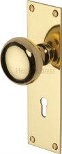 Heritage Balmoral Door Knobs Lever Lock BAL8500 Polished Brass