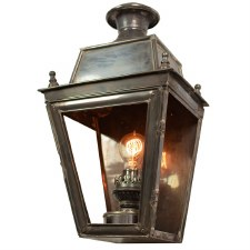 Balmoral Flush Outdoor Wall Lantern Antique Brass