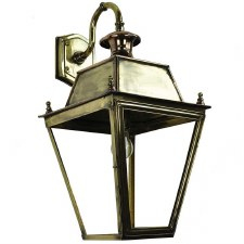 Large Balmoral Outdoor Wall Down Lantern, Light Antique Brass