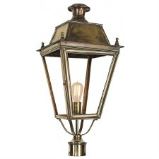 "Balmoral Large Lamp Post Head to suit 3"" dia. Light Antique Brass"