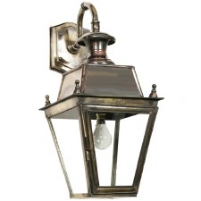Balmoral Outside Wall Lantern Overhead Arm Light Antique Brass