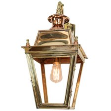 Balmoral Outside Wall Lantern Overhead Arm Polished Brass Unlacquered