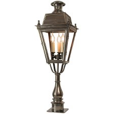 Balmoral Tall Pillar Lantern with 3 Light Cluster Antique Brass