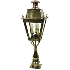 Balmoral Tall Pillar Lantern with 3 Light Cluster Light Antique Brass