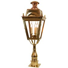 Balmoral Tall Pillar Lantern with 3 Light Cluster Polished Brass Unlacquered