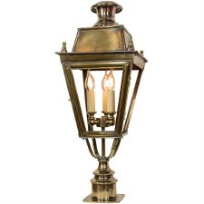 Balmoral Short Pillar Lantern with 3 Light Cluster Light Antique