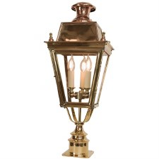 Balmoral Short Pillar Lantern with 3 Light Cluster Polished Brass Unlacquered