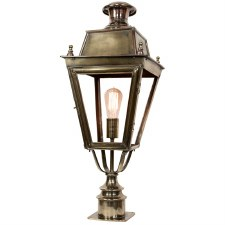 Balmoral Short Pillar Lantern Single Light, Light Antique