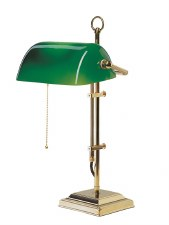 Bankers Table Lamp Polished Brass with Green Shade