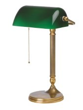 Bankers Table Lamp Burnished Brass with Round Base