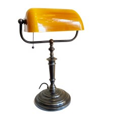 Bankers Desk/Table Lamp - Amber & Bronze