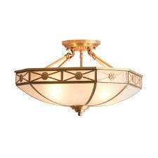 Interiors 1900 Bannermann Semi Flush Ceiling Light Antique Brass